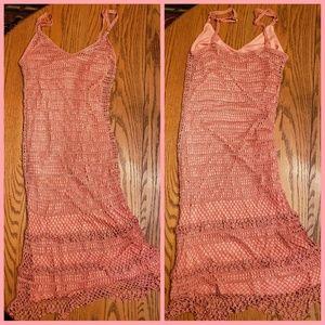 ABS by Allen Schwartz Coral Crochet Slip Dress